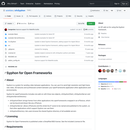 GitHub - astellato/ofxSyphon: An OF add-on for using the Syphon framework.