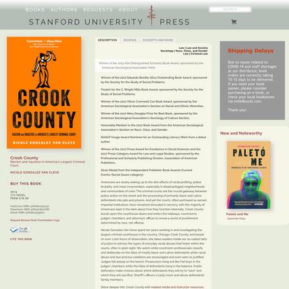 Crook County: Racism and Injustice in America's Largest Criminal Court | Nicole Gonzalez Van Cleve