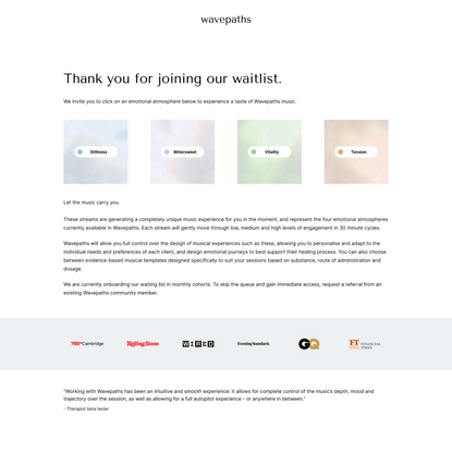 Thank You For Joining Wavepaths Waitlist