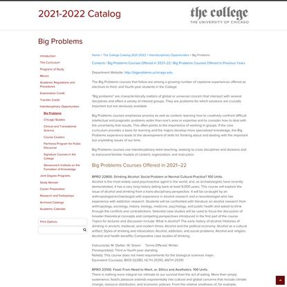Big Problems < University of Chicago Catalog