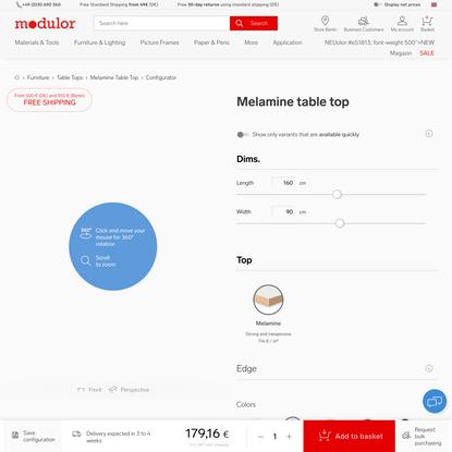 Configurate your melamine table top at Modulor Online Shop