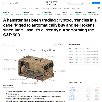 A hamster has been trading cryptocurrencies in a cage rigged to automatically buy and sell tokens since June - and it's curr...