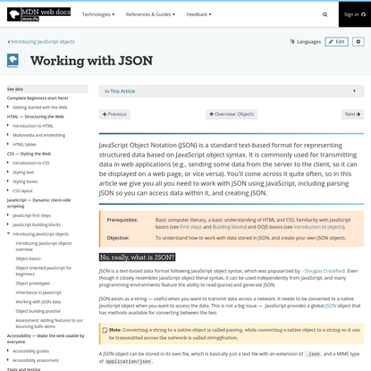 Working with JSON