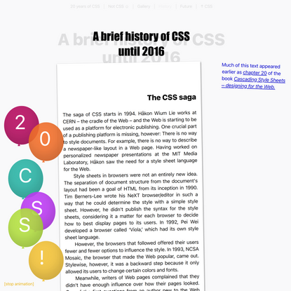 A brief history of CSS until2016