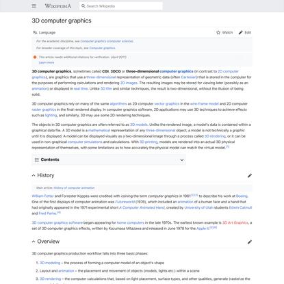 3D computer graphics - Wikipedia