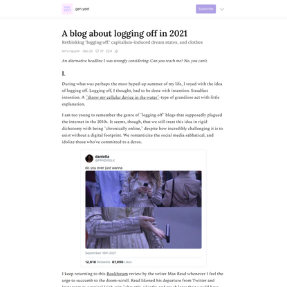 A blog about logging off in 2021