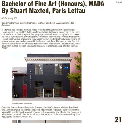 Bachelor of Fine Art (Honours), MADA by Stuart Maxted and Paris Lettau