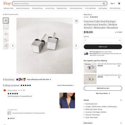 Concrete Cube Stud Earrings Architectural Jewelry Modern   Etsy
