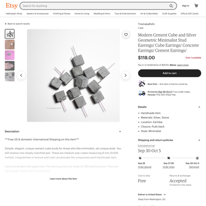 Modern Cement Cube and Silver Geometric Minimalist Stud   Etsy