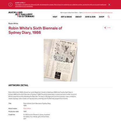 Robin White's Sixth Biennale of Sydney Diary, 1986