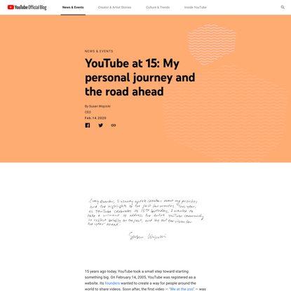 YouTube at 15: My personal journey and the road ahead