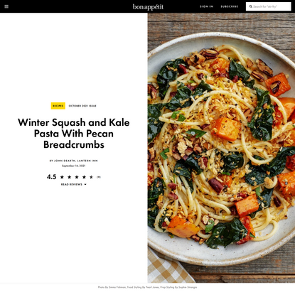 Winter Squash and Kale Pasta With Pecan Breadcrumbs