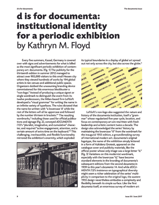 d is for documenta: institutional identity for a periodic exhibition