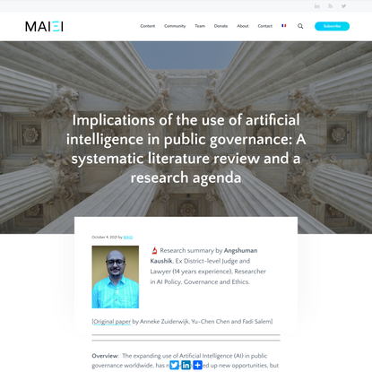 Implications of the use of artificial intelligence in public governance: A systematic literature review and a research agend...