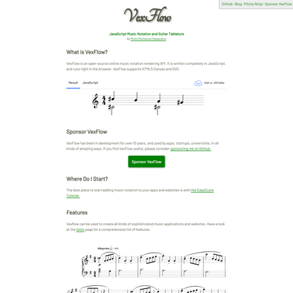 VexFlow - HTML5 Music Engraving
