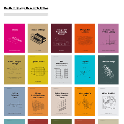 Bartlett Design Research Folios showcase some of the research done by academic staff at The Bartlett School of Architecture, part of the Bartlett Faculty of the Built Environment at the University College London, is one of the world's leading institutions for architectural teaching and research. #bartlettarchucl