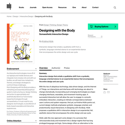 Designing with the Body   The MIT Press