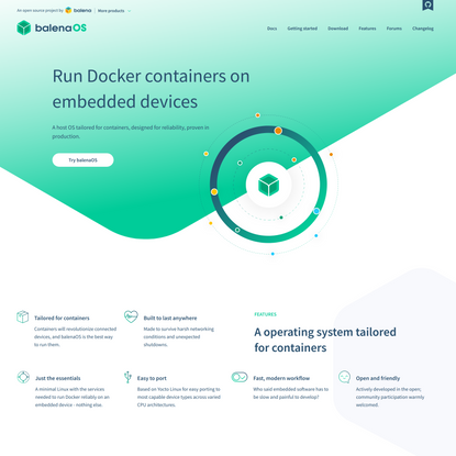 balenaOS - Run Docker containers on embedded IoT devices