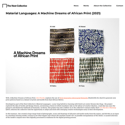 Material Languages—A Machine Dreams of African Print (2021) — The Nest Collective