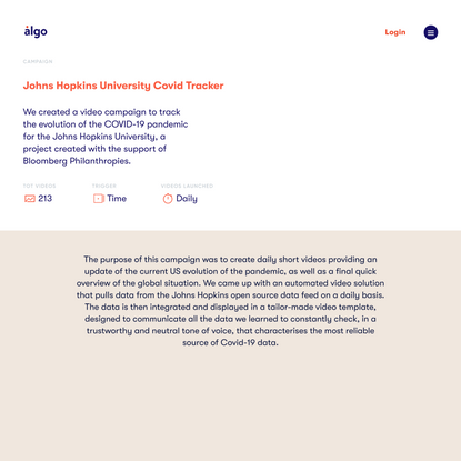 Algo - JHU Covid Tracker