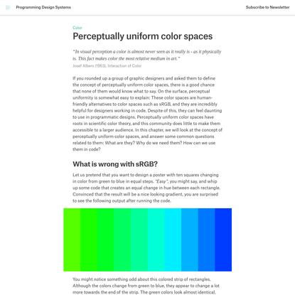 Perceptually uniform color spaces