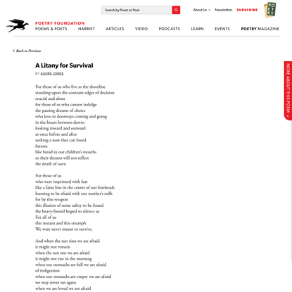 A Litany for Survival by Audre Lorde   Poetry Foundation