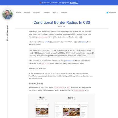Conditional Border Radius In CSS - Ahmad Shadeed