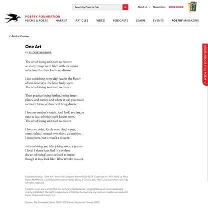 One Art by Elizabeth Bishop   Poetry Foundation