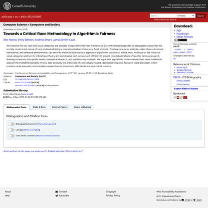 Towards a Critical Race Methodology in Algorithmic Fairness