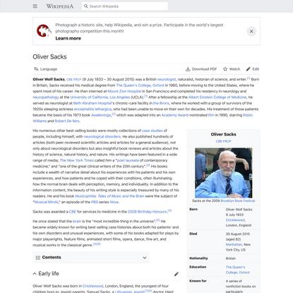 Oliver Sacks - Wikipedia