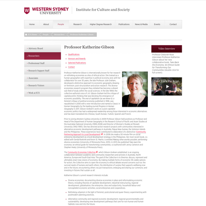 Professor Katherine Gibson - Institute for Culture and Society - University of Western Sydney