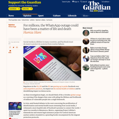 For millions, the WhatsApp outage could have been a matter of life and death | Humza Jilani | The Guardian