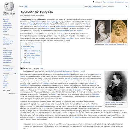 Apollonian and Dionysian - Wikipedia