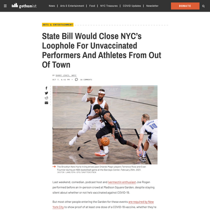 State Bill Would Close NYC's Loophole For Unvaccinated Performers And Athletes From Out Of Town