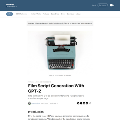 Film Script Generation With GPT-2