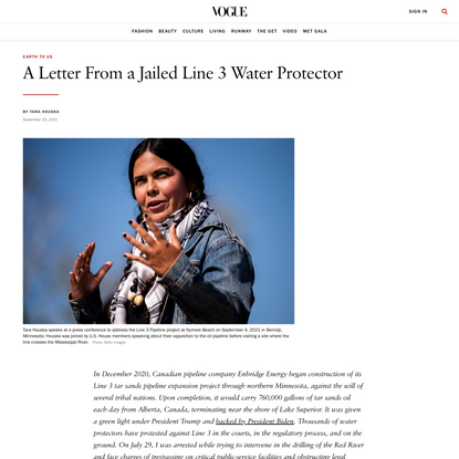 A Letter From a Jailed Line 3 Water Protector