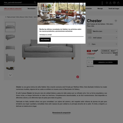 Chester Sofá 3 plazas de tela italiana - Gris claro - Patas roble