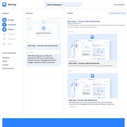 Meta Tags — Preview, Edit and Generate