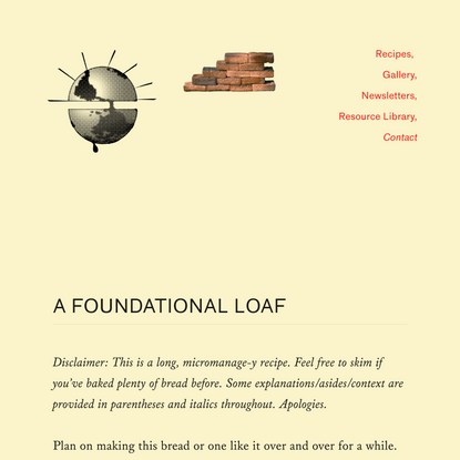 A FOUNDATIONAL LOAF — Bread on Earth