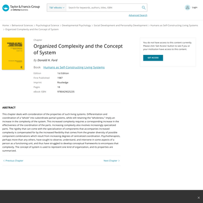 Organized Complexity and the Concept of System | Donald H. Ford | Tayl