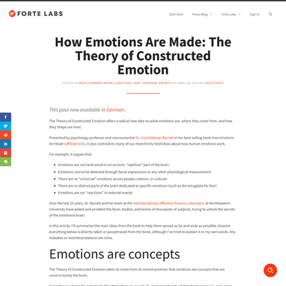 How Emotions Are Made: The Theory of Constructed Emotion - Forte Labs