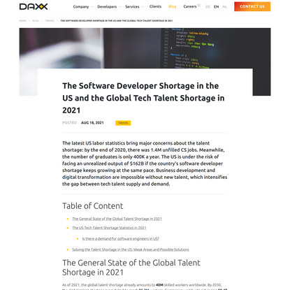 Software Developer Shortage in the US and Global Tech Talent Shortage in 2021