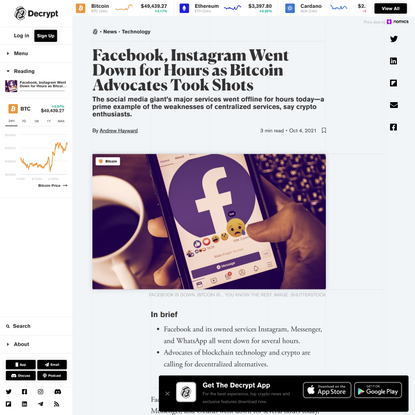 Facebook, Instagram Went Down for Hours as Bitcoin Advocates Took Shots - Decrypt