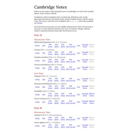 Cambridge Notes