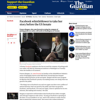 Facebook whistleblower to take her story before the US Senate | Facebook | The Guardian
