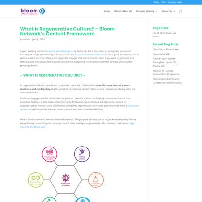 What is Regenerative Culture? - Bloom Network's Content Framework - Bloom Network