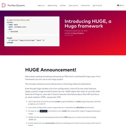 Introducing HUGE, a Hugo framework   The New Dynamic