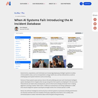When AI Systems Fail: Introducing the AI Incident Database - Partnership on AI