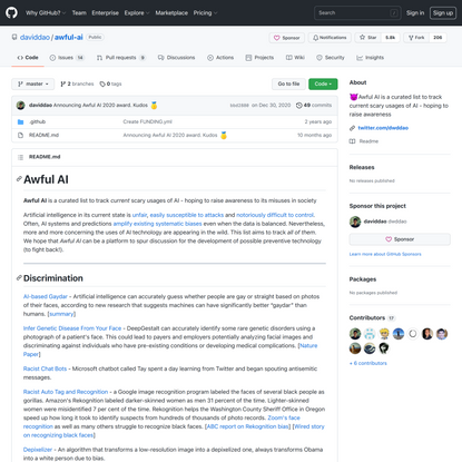 GitHub - daviddao/awful-ai: 😈Awful AI is a curated list to track current scary usages of AI - hoping to raise awareness
