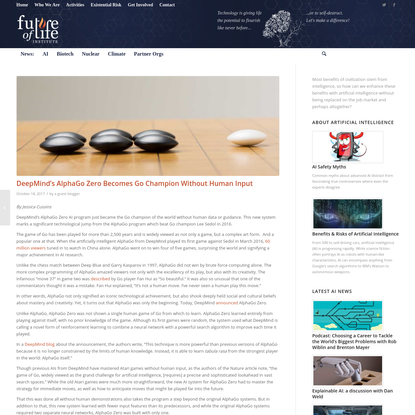 DeepMind's AlphaGo Zero Becomes Go Champion Without Human Input - Future of Life Institute